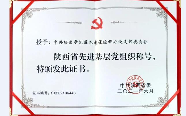 """杨凌示范区养老保险经办处荣获""""陕西省先进基层党组织""""称号"""